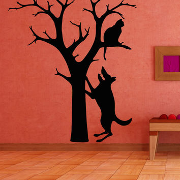 Vinyl Wall Decal Sticker Dog and Cat in Tree #OS_AA1709