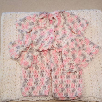 Pink, Grey, and White Variegated Crochet Baby Layette Set: 5 piece