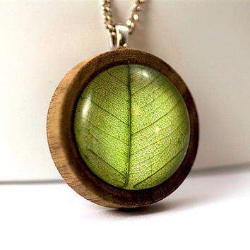 Round wooden pendant necklace with REAL LEAF. Walnut wood pendant with embedded dried leaf, long silver color necklace. Gift for her.