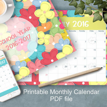 printable planner monthly calendar, school year 2016-17, monthly schedule, dated organizer, flower pattern, landscape, letter size,  PDF