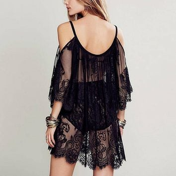 Women Beach Dress Sexy Strap Sheer Floral Lace Embroidered Crochet Summer Black Dresses Hippie Boho Dress Free Shipping