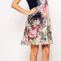 Floral Print Prom Party Homecoming Dress