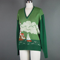70s Novelty Sweater V Neck Sailboat Lighthouse Vintage 1970s Anderson Little Green Jumper Pullover L