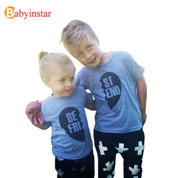 Fashion 2016 Baby T-Shirt Short Sleeve Cotton Best Friend Print Good Quality Kids Top Tees Popular Family Matching Outfits