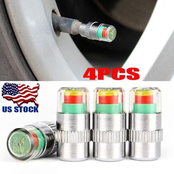 4PCS Car Auto Tire Pressure Monitor Valve Stem Caps Sensor Indicator Alert USA
