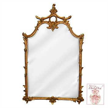 Chinoiserie Ornate Hand Finished Beveled Gold Entryway Mirror