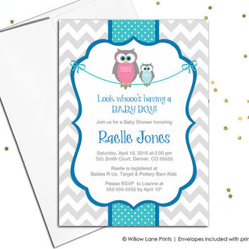 Chevron owl baby shower invitations for boys printable baby boys shower invite - royal blue and turquoise - printable or printed(781)