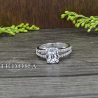 3.25 CT Engagement Ring With Cushion Cut Stone Solid 14K White Gold Bridal Ring , Vintage Style Ring
