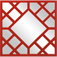 "Howard Elliott Howard Elliott Anakin 24"" High Red Lattice Wall Mirror from Lamps Plus 