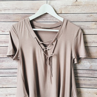 Claudia Lace Up Tee (Mocah)