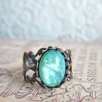 Mint Green Ring Mint Ring Dark Gothic Exotic Antique Brass Bronze Filigree LOTR Lord of the Ring Fantasy Magical Whimsical Mysterious Ring