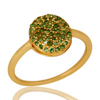 18K Yellow Gold Plated Sterling Silver Tsavorite Gemstone Stackable Ring