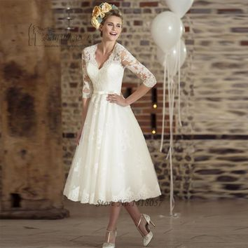 champagne ankle length wedding dress
