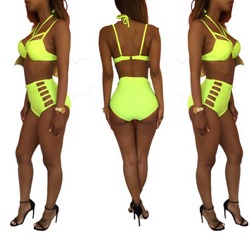 Neon Yellow Cut-Out High-Waist Bikini