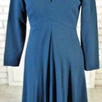 Vintage 70s Mollie Parnis Green Blue Dress Wool Crepe S 34 Bust