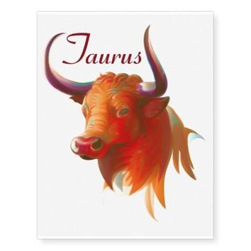 Zodiac Taurus Sign Temporary Tattoos