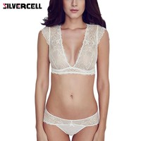 SILVERCELL Women Sexy Embroidery Floral lace Bra Set Deep V Neck Sheer Panties Thin See Through Lingerie Underwear Bra Set