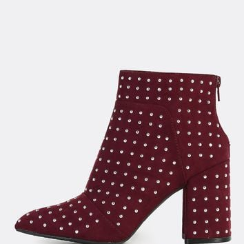 Studded Pointy Toe Boots BURGUNDY