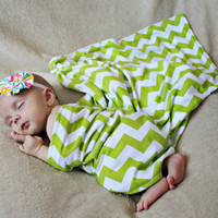 Chevron Swaddle blanket and infant hat set  Baby Boy, Baby Girl