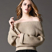 Strapless fashion collar knit sweater
