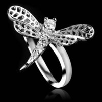 IDee Sterling Silver Diamond Dragonfly Ring