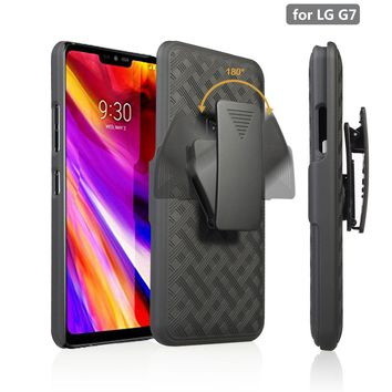 LG G7 ThinQ Case,  Triple Protection 3-1 w/ Built in Screen Protector Heavy Duty Holster Shell Combo Case - Black