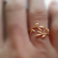 golden vine ring - yellow 16k gold over brass - adjustable wrap ring - delicate organic