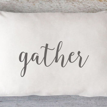 Gather Lumbar Pillow Cover - Thanksgiving Pillow, Fall Pillow, Autumn Pillow, White Pillow, Farmhouse Pillow, 12 x 16, 12 x 18, 12 x 20