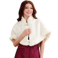 Women's 2016 New Fashion Cocktail All-Match Cloak Coat Imitation Fur Shawl Cardigan Jackets White
