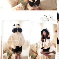 Oversized Panda Fluff Hoodie [640] - $59.00 - To February ♥ Specializing in Asian Fashion, Korean Fashion, KPOP Merchandise, and KDRAMA Collectibles!