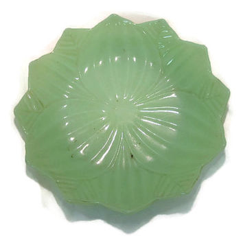 1960s Anchor Hocking Jade-ite Lotus Plate Only