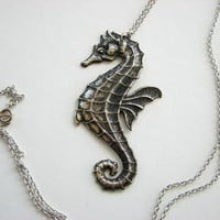 seahorse necklace oxidized silver patina by friendlygesture