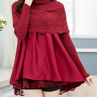 Red Turtleneck Long Sleeve Lace Top Dress
