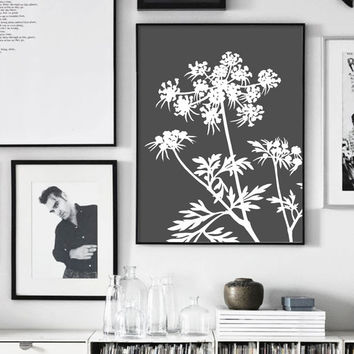 Plant Print, Herb Wall Art, Nordic Design, Grass, White and Grey, Parsley, Neutral Print, Botanical Poster, Scandinavian, Affiche Scandinave