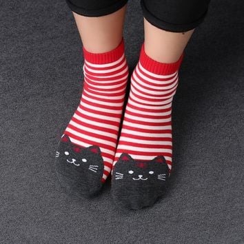 Cartoon Women Socks Cat Footprints 3D Animals Style Striped Warm Cotton Socks Lady Floor meias Socks for Female