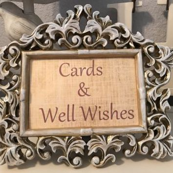 Gold White Wash Brocade Wedding Wishes Sign Photo Frame