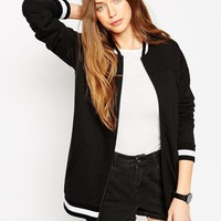 ASOS Longline Bomber With Stripe Ribs at asos.com