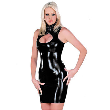 Sexy Club Dresses Sleeveless Free Size Faux Leather Bodycon Dress Open Bust Latex Women Night Party Dresses