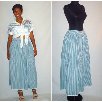 Vintage 1980s Stripe Skirt Denim Blue and White
