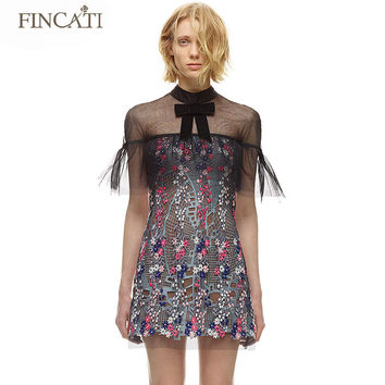 Runway SP Brand Women Autumn Lace Floral Embroidered Mesh Patchwork Slim Fitted Sexy Mini Dress Vestidos