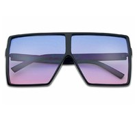 Oversized Flat Top Ombre Tint Sunglasses
