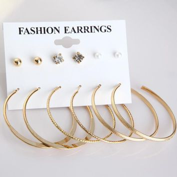ES493 Punk Crystal Hoop Earrings For Woman Simulated Imitation Pearl Alloy Round Ball Earring Set Boucles D'oreille Girls