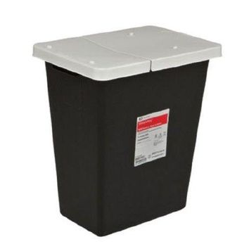 Covidien RCRA Waste Container Vertical Entry Hinged Lid Plastic - Case of 10