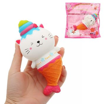 Funny Cat Kitty Mermaid Ice Cream Squishying Soft Slow Rising Jumbo Toy 15*7cm With Packing Bag staps Collection Gift for kids