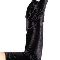 Black Stretch Velvet Opera Length Gloves - Costume Gloves