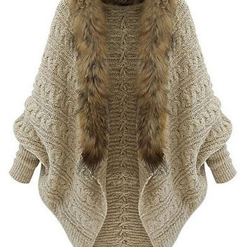 Khaki Bat Sleeve Wool Lace Cardigan