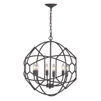 140-005 Strathroy 6 Light Orb Chandelier With Honeycomb Metal Work By  - Free Shipping!