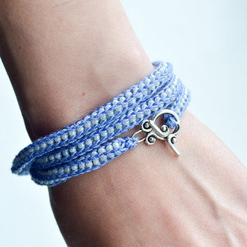 Crochet Beaded Fiber Bracelet - Necklace - all in one - Blue and White Knitted Fiber - Eco Jewelry