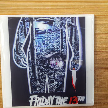 Single Tile Drink Coaster Friday the 13th 80s Movie Poster Horror Film Jason Voorhies Drink Coaster