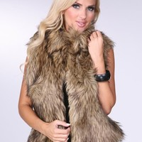 Faux Fur Vest in Brown